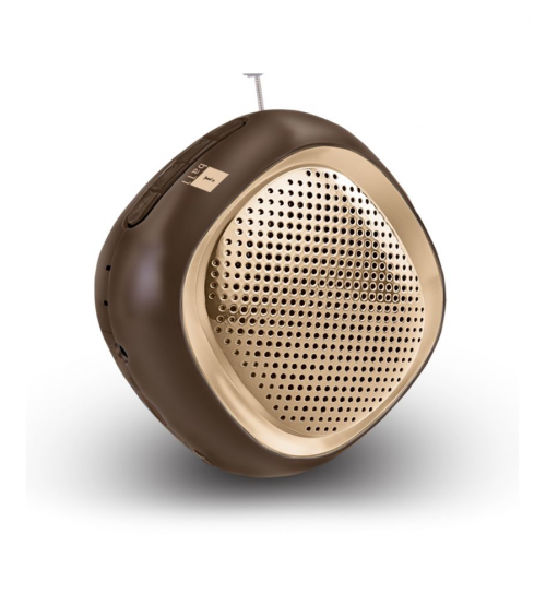 iBall Musi Cube BT20 Bluetooth Speaker, Portable, Brown & Gold